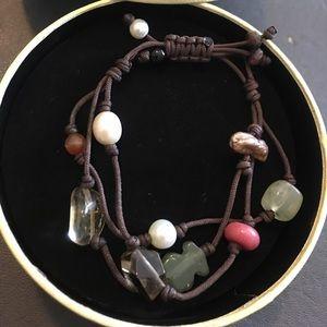 Tous Tibet gemstones and pearl adjustable bracelet